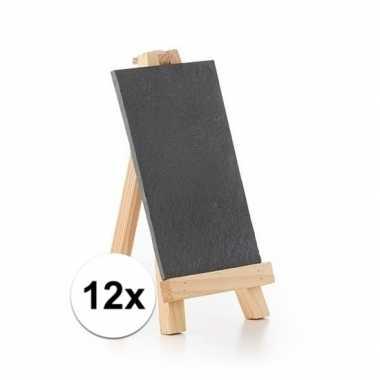 12x krijtborden op houten standaard 20 cm