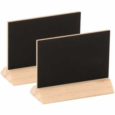 12x stuks houten mini krijtbordjes/schrijfbordjes op voet 6 cm