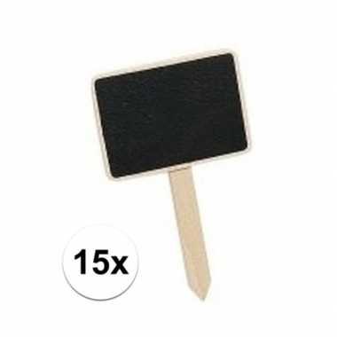 15 mini krijtbordjes op stokje 7 cm