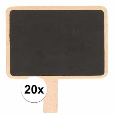 20x krijtbordjes/memobordjes op knijper 7 x 5 cm