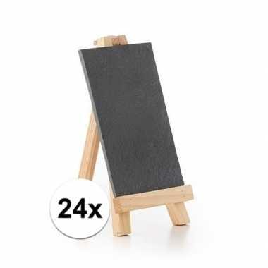 24x krijtborden op houten standaard 20 cm