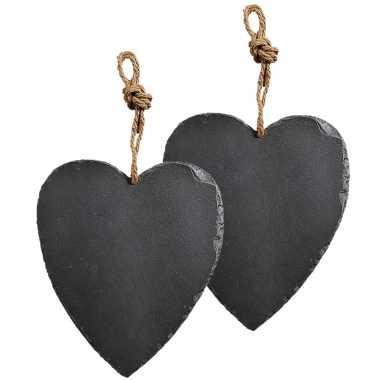 2x stuks decoratie harten 27 cm van leisteen