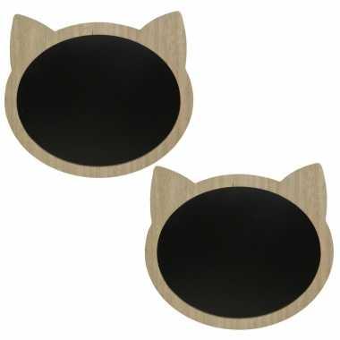 2x stuks katten/poezenkop krijtbord/memobord mdf 40 x 35 cm