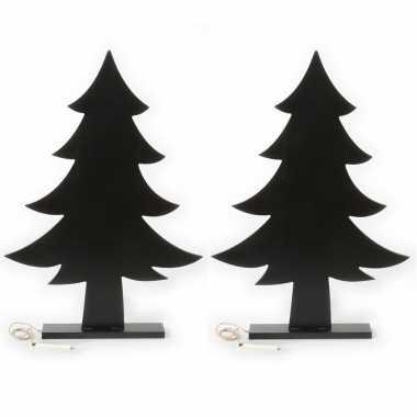 2x stuks kerst woondecoratie houten kerstboom krijtbord 51 cm
