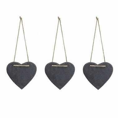 3x stuks decoratie hart 12 cm van leisteen