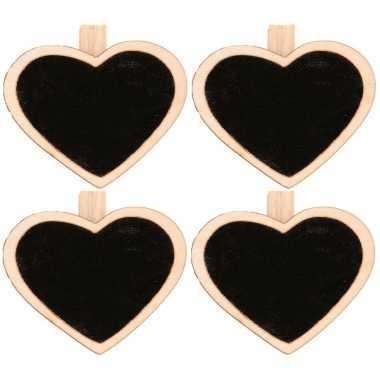 4x hart mini krijtbordje/schrijfbordje op knijper 5 cm