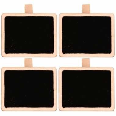 4x rechthoekig mini krijtbordje/schrijfbordje op knijper 5 cm