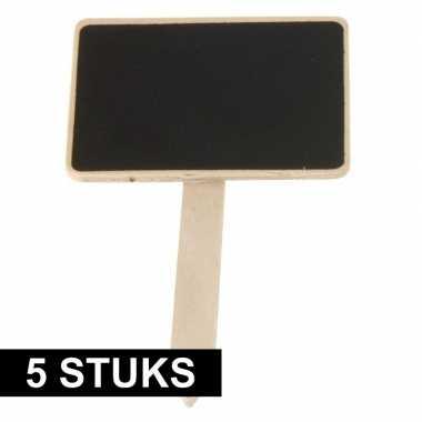 5x plantenstekers schoolbord/krijtbord op stokje 12 cm