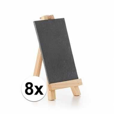 8x krijtborden op houten standaard 20 cm