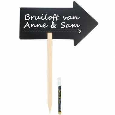 Bruiloft wegwijzer pijl krijtbord 73 cm inclusief stift