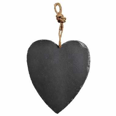 Decoratie hart 27 cm van leisteen
