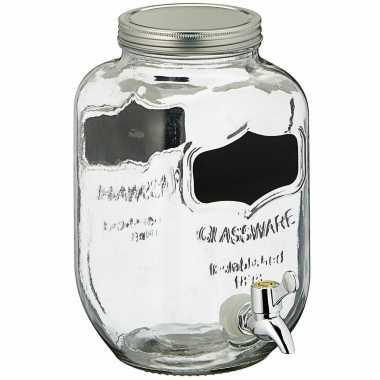 Glazen drankdispenser/limonadetap met krijtbord 3,5 liter