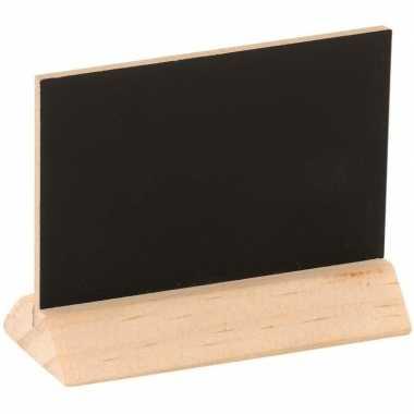 Houten mini krijtbordje/schrijfbordje op voet 6 cm
