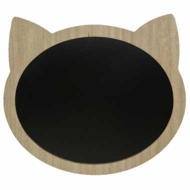 Katten/poezenkop krijtbord/memobord mdf 40 x 35 cm