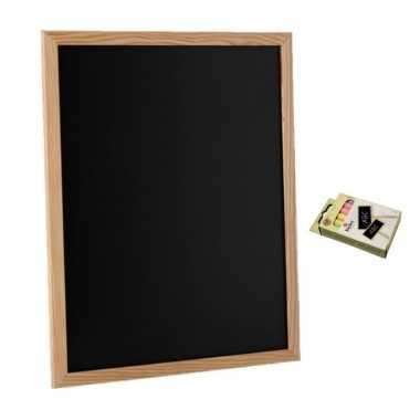 Schoolbord/krijtbord 30 x 40 cm met 12x stuks gekleurde krijtjes
