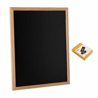Schoolbord/krijtbord 30 x 40 cm met 12x stuks witte krijtjes