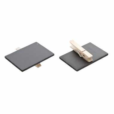 Set van 18x stuks memo krijtbordjes op houten knijper 6 x 4 cm