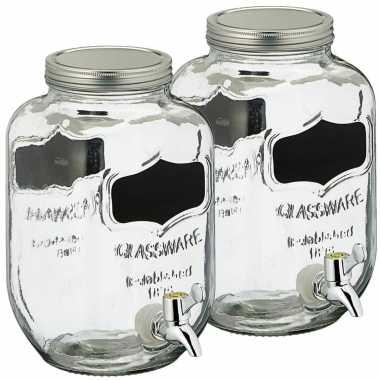 Set van 2x stuks glazen drankdispensers/limonadetap met krijtbord 3,5 liter
