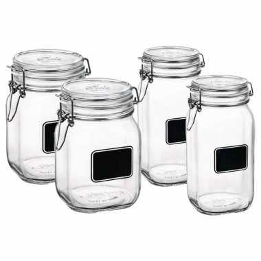 Set van 4x stuks weckpotten/inmaakpotten met krijtplaatje 1 liter - 1,5 liter