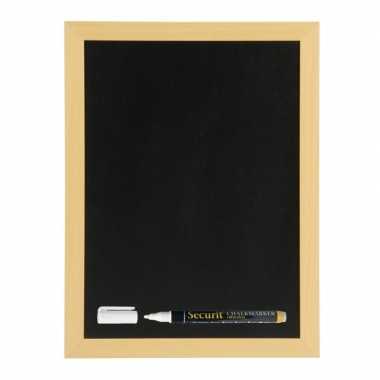 Zwart krijtbord met teak houten rand 40 x 60 cm inclusief stift