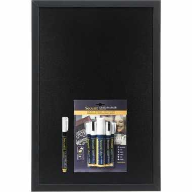 Zwart krijtbord met zwarte rand 40 x 60 cm inclusief 6x witte stiften