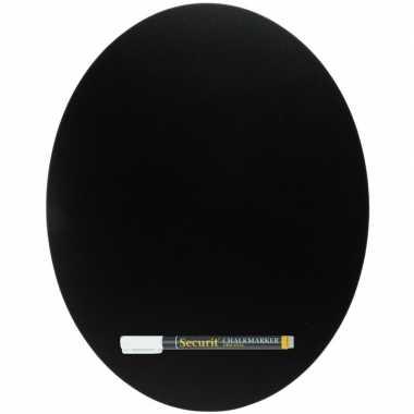Zwart ovaal krijtbord 38 cm inclusief stift