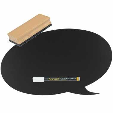 Zwart tekstwolk schoolbord/krijtbord 27 cm inclusief stift en wisser