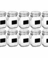 10x weckpotten inmaakpotten met krijtplaatje 1 liter