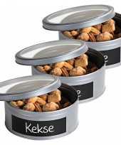 3x zilveren ronde koekblikken opbergblikken bewaarblikken 20 cm met krijtbord vlak