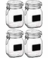 4x weckpotten inmaakpotten met krijtplaatje 1 liter