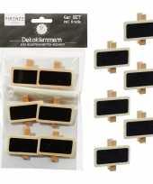 6x hobby knutsel decoratie krijtbordjes op knijper 3 x 4 cm