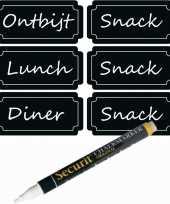 6x mealprep krijtbord etiketten met witte krijtstift