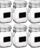 6x weckpotten inmaakpotten met krijtplaatje 1 liter