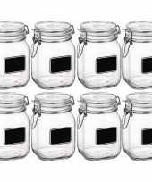 8x weckpotten inmaakpotten met krijtplaatje 1 liter