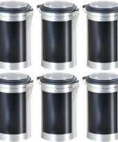 8x zilveren ronde opbergblikken bewaarblikken 11 x 19 cm met krijtbord schrijfvlak