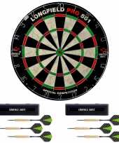Dartbord longfield professional 45 5 cm met 6x goede kwaliteit dartpijltjes