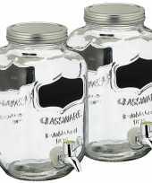 Set van 2x stuks glazen drankdispensers limonadetap met krijtbord 3 5 liter