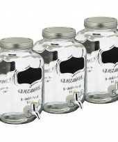 Set van 3x stuks glazen drankdispensers limonadetap met krijtbord 3 5 liter